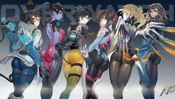 6girls angry d.va dat_ass female female_only looking_at_viewer mei mercy overwatch pharah smile tagme tight_clothing tracer widowmaker