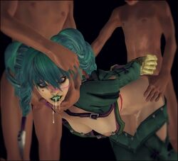 1girl 2boys clothed_female_nude_male cum_in_mouth cum_in_pussy drool faceless_male green_hair green_lipstick hands_behind_back head_grab lipstick looking_at_viewer open_clothes oral_cumshot purple_eyes rape soul_calibur threesome tied tira twintails