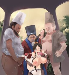 1girl 4some age_difference asian_male beard behind belly belly_bulge blowjob breasts chinese_clothes chinese_clothing chinese_dress closed_eye clothed clothed_sex clothes cum cum_on_breasts cum_on_face dress fat_man gangbang goatee group group_sex hair_grab hand_on_hip handjob headband hip_grab large_breasts larger_male mature mature_male moustache multiple_boys multiple_males necklace nipples no_bra nude old_man older_male oral outdoor outdoors penetration penis public saliva_string sex stand_and_carry_position standing standing_doggy_style standing_position standing_sex sweat sweatdrop sweating ugly_man uncensored uniform white_guy white_man