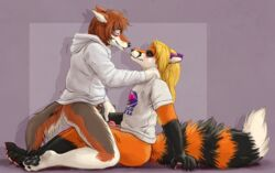 2018 4_toes 5_fingers anthro anthro_on_anthro black_fur black_nose blonde_hair blush bottomless brown_fur brown_hair canine closed_eyes clothed clothing cowgirl_position coyote desmond_(ceeb) duo ears_back erection female finger_fuck fingering fingering_partner fingerpads fox fur gloves_(marking) hair hand_on_shoulder hoodie humanoid_penis hybrid looking_pleasured male mammal marjani markings multicolored_fur on_top orange_fur pawpads paws penis pussy red_penis sex shirt side_view simple_background sitting smile socks_(marking) straight toes uncut vaginal_penetration white_fur