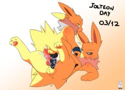 2boys alternate_color alternate_eye_color animal_genitalia animal_penis anus ass being_watched big_penis black_penis black_sclera blue_eyes blush canine canine_penis dated eeveelution electricity erection feet gay green_eyes half-closed_eyes jetta_the_jolteon jolteon knot leg_up long_ears looking_at_viewer looking_back looking_up male male_only miau nintendo on_back on_top open_mouth original_character pawpads penis penises_touching pink_penis pokémon_(species) pokemon pokemon_rgby spread_legs static sweatband testicles text video_games watermark white_fur yaoi yellow_fur