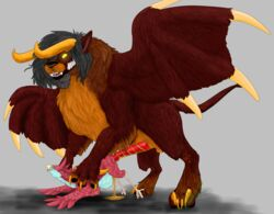 absurd_res animal_genitalia anthro anthro_on_feral avian balls bird cambion feathers female feral fur hi_res inflation invalid_tag male male/female mammal naughtybirdart open_mouth peeing penis pussy rubicon sex simple_background theo urine watersports wings zoophilia