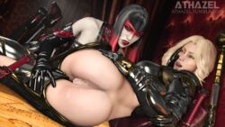 2girls 3d anus armor athazel black_hair blonde_hair blue_eyes bodysuit countess countess_(paragon) cum cum_in_ass cum_in_pussy cum_inside female female_only hand_on_ass hand_on_leg high_heel_boots highres lesbian licking_lips paragon red_eyes serath source_filmmaker tongue tongue_out vagina yuri
