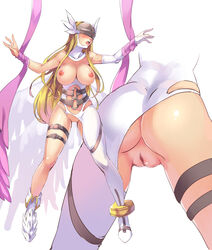 angewomon artist_request bandai bare_shoulders blonde_hair blush breasts censored cleavage curvy digimon female female full_body helmet huge_ass large_breasts leotard leotard_aside long_hair nipplsnavel puffy_nipples pussy shiny_skin solo standing thick_thighs thighs wings
