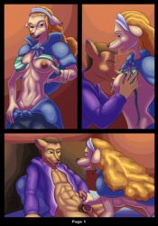 absurd_res anthro bed bikini blonde_hair breasts canine cape clothing female furry furry_only go1den_(wanda_fan_one_piece) hair hi_res hoodie male mammal navel nipples no_humans penis sacrificabominat swimsuit undressing wanda_(one_piece)
