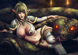 1girl 2018 armor background breasts brown_eyes cleavage clothed ears echidna_(queen's_blade) elf elf_ear eyelashes eyes eyeshadow female female_only fur giant_snake glowing_eyes green_hair green_lipstick green_nails hair large_breasts lips lipstick long_hair lounging luminyu makeup midriff navel orange_eyes patreon pinup pointy_ears queen's_blade ruby scales smile smiling snake snake_tongue solo