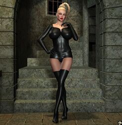 1girl 3d big_breasts black_footwear black_legwear black_stockings blonde_hair bodysuit braid busty cleavage curvy detailed_background erect_nipple erect_nipples female female_only footwear front_view gloves gray_eyes hand_on_hip hands_on_hip hands_on_hips high_heels hourglass_figure human indoor inside lady_sonna legwear lipstick long_hair looking_at_viewer makeup night nipple_bulge pose posing red_lipstick room shadow shiny shiny_skin solo solo_female standing stockings tied_hair voluptuous xskullheadx yellow_hair