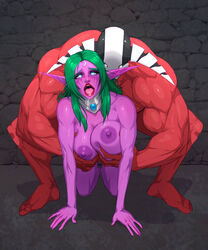 ahe_gao all_fours areolae big_breasts breast_grab breasts dota_2 female from_behind large_breasts male night_elf nipples nude open_mouth sex sven tortuga tyrande_whisperwind world_of_warcraft
