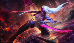 absurd_res absurdres alternate_costume areolae breasts_outside cyborg female female_only highres katarina knife league_of_legends liquidshadow nipples nude_edit pose project_katarina pussy solo solo_focus topless visor white_hair