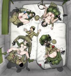 4girls 6boys army clothed_sex female_soldier gogocherry military military_uniform orgy partially_clothed sex_slave spitroast uniform