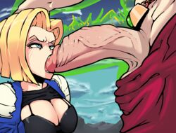 android_18 angry black_bra blonde_hair blue_eyes bob_cut boxman bra breasts broly cleavage dragon_ball dragon_ball_z fellatio female hand_on_another's_head highres huge_cock jacket large_breasts looking_at_another oral penis raglan_sleeves shirt_lift short_hair solo_focus standing uncensored upper_body veiny_penis