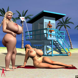 3d 3girls back_view bare_shoulders barefoot beach big_breasts black_hair blonde_hair busty butt_crack cleavage curvy dark-skinned_female dark_skin detailed_background erect_nipple erect_nipples female female_only flag front_view hairy_pussy hourglass_figure human lipstick long_hair makeup multiple_females multiple_girls nail_polish naked nude original_character outdoor outside pose posing pubes pubic_hair red_lipstick sand shadow sitting spread_legs spreading standing sunglasses tree voluptuous wide_hips xskullheadx yellow_hair