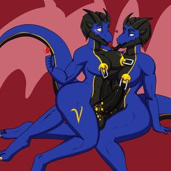 big_breasts blush breasts dickgirl dickgirl/dickgirl dragon duo hair horn intersex intersex/intersex nipples penis piercing requiem rileyserenity selfcest square_crossover tongue tongue_out