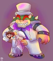 blush bowser cross-dressing human koopa male male/male mammal mario mario_bros nintendo salad_pervert scalie simple_background size_difference slightly_chubby super_mario_odyssey sweat video_games wedding_bowser
