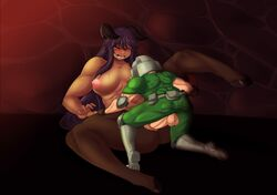 balls big_breasts blush breasts clothed clothing demon doom doom_guy duo erection female hell_knight human male male/female mammal meganemausu nude one_eye_closed penis pussy vaginal_penetration video_games yellow_eyes