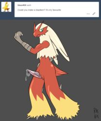 1boy 2018 absurd_res anthro ass avian beak biceps big_ass bird blaziken blue_eyes blush chicken claws cum erection feathers hi_res male male_only muscular nintendo nude penis pokémon_(species) pokemon pokemon_rse precum presenting presenting_penis red_body rhuanfps side_view simple_background solo standing text tumblr video_games watermark yellow_eyes