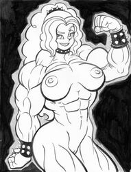 abs adagio_dazzle biceps breasts equestria_girls female female_only flexing friendship_is_magic large_breasts monochrome muscles muscular_female my_little_pony navel nipples nude pose pussy solo