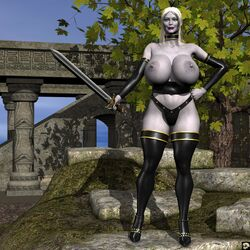 1girl 3d bare_shoulders big_breasts blue_eyes busty choker cleavage curvy day detached_sleeves detailed_background erect_nipple erect_nipples eyelashes female female_only footwear front_view grey_skin half-dressed half_dressed holding_object hourglass_figure humanoid lipstick long_hair looking_at_viewer luxuria_(character) makeup nail_polish nipple_piercing no_bra outdoor outside piercing pose posing purple_lipstick sandals shadow shiny shiny_skin solo solo_female standing sword thong topless tree voluptuous weapon white_hair wide_hips xskullheadx