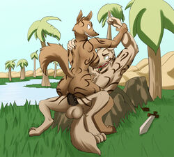 2012 anthro ass balls big_balls big_butt breasts canine cowgirl_position digital_media_(artwork) domination duo female female_domination fluffy fluffy_tail forced gnoll grin hand_on_chest lagotrope lying male male/female mammal melee_weapon nude oasis on_back on_top outside paint palm_tree penetration penis plump_labia pussy pussy_juice raised_tail river sand sex sharp_teeth sitting sky smile sword tattoo teeth tgchan tree vaginal_penetration vaginal_penetration weapon
