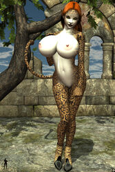 1girl animal_ears anthro bare_shoulders big_breasts black_lips busty cleavage curvy detailed_background erect_nipple erect_nipples feline female female_only front_view furry high_heels hourglass_figure humanoid jaguar long_hair naked nude orange_hair outdoor outside pose posing shadow solo solo_female standing tail tree voluptuous wide_hips xskullheadx yellow_eyes zizi_(xskullheadx)