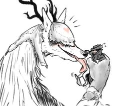 2018 ambiguous_gender anthro antlers beast_(bloodborne) black_and_white_and_red blindfold bloodborne blush bottomless canine clothed clothing duo hat heart holding_character horn human licking male male/ambiguous mammal nobby_(artist) oral penis penis_lick restricted_palette sex size_difference sweat sweatdrop tongue tongue_out underwear underwear_around_one_leg vicar_amelia