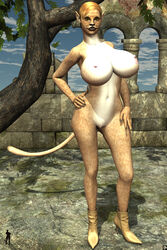 1girl animal_ears anthro bare_shoulders big_breasts black_lips blonde_hair busty cleavage curvy detailed_background erect_nipple erect_nipples feline female female_only front_view furry hand_on_hip hands_on_hip hands_on_hips high_heels hourglass_figure humanoid leona_(xskullheadx) lion naked nude outdoor outside pose posing shadow short_hair solo solo_female standing tail tree voluptuous wide_hips xskullheadx yellow_eyes