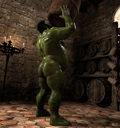2017 3d_(artwork) 5_fingers ad-games ass belly digital_media_(artwork) humanoid inside male muscular not_furry orc solo standing story_at_source