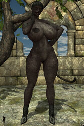 1girl animal_ears anthro bare_shoulders big_breasts black_fur black_hair black_lips busty catarina cleavage curvy detailed_background erect_nipple erect_nipples feline female female_only front_view furry hand_on_hip hands_on_hip hands_on_hips high_heels hourglass_figure humanoid naked nude outdoor outside panther pose posing shadow short_hair solo solo_female standing tail tree voluptuous wide_hips xskullheadx yellow_eyes