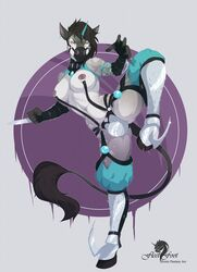 abstract_background anthro armor battle belt blades breasts clothing cup dickgirl equine fleet-foot fur horn intersex invalid_tag mammal muzzle_(disambiguation) navel nipple_piercing nipples piercing solo unicorn