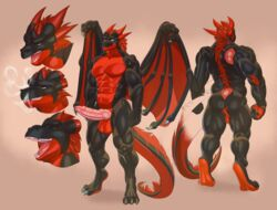 anthro backsack balls barbed_penis dragon erection horn hybrid_penis javkiller knot male model_sheet muscular muscular_male nude open_mouth penis smile solo standing vein wings
