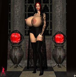 1girl 3d bare_shoulders big_breasts black_footwear black_hair black_legwear black_stockings breast_outside busty cleavage coat curvy detailed_background ear_piercing earrings elbow_gloves erect_nipple erect_nipples eyeshadow female female_only footwear front_view gray_eyes half-dressed half_dressed high_heels hourglass_figure human indoor inside legwear lipstick long_hair looking_at_viewer makeup multi-colored_hair nail_polish night no_bra piercing pose posing rachel_satin red_hair red_lipstick room shadow shiny shiny_skin solo solo_female standing stockings topless voluptuous xskullheadx