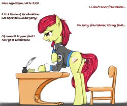 2013 amber_eyes apple_bloom_(mlp) bottomless chair clothed clothing cutie_mark deck_(disambiguation) earth_pony english_text equine female feral freckles friendship_is_magic hair horse madhotaru mammal my_little_pony pony puddle pussy pussy_juice red_hair simple_background solo tears text white_background
