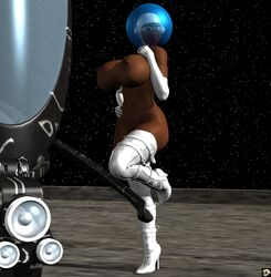 1girl 3d bare_shoulders big_breasts boots busty cleavage cosmic_girl curvy dark-skinned_female dark_skin detailed_background elbow_gloves erect_nipple erect_nipples female female_only front_view gloves hand_on_hip hands_on_hip hands_on_hips helmet hourglass_figure human leg_lift leg_up looking_at_viewer naked nude outdoor outside pose posing shadow shiny shiny_skin solo solo_female speech standing voluptuous white_footwear white_legwear white_stockings wide_hips xskullheadx