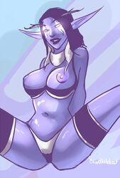 abstract_background areolae big_lips blindwildcat blue_lipstick blue_skin bra bra_pull breasts breasts_out elf female female_only first_arcanist_thalyssra front_view glowing_eyes highres hood large_breasts legband lingerie lipstick long_ears navel night_elf nightborne nipples panties perky_breasts pointy_ears signature sitting smile solo spread_legs thighhighs warcraft white_hair world_of_warcraft