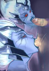 armor big_hair big_penis blindwildcat blue_lipstick blue_skin blue_tongue deepthroat dota_2 duo faceless_male facial_markings fellatio female forehead_protector highres lipstick lipstick_on_penis long_hair looking_up male oral penis penis_lick red_eyes red_sclera solo_focus straight tongue tongue_out vengeful_spirit white_hair