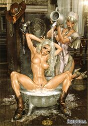 2girls abs apron arms_behind_head bathing blonde_hair blue_eyes boots breasts decensored female high_resolution hime_cut huge_breasts juliona_trans large_breasts large_filesize long_hair looking_at_viewer maid_headdress multiple_girls navel nipples nude open_mouth photoshop potential_duplicate pouring shiny shiny_skin shirow_masamune skinny uncensored vagina very_high_resolution waitress wild_wet_west