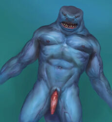 angry animal_genitalia anthro erection fish genital_slit male male_only marine muscular nipples orcfun penis shark slit solo solo_male swimming tapering_penis teeth underwater vein water