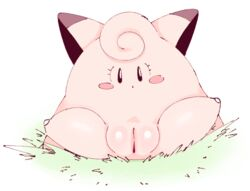 1girl ass belly big_ears black_eyes clefairy eyelashes fairy feet female female_only flat_chest grass legs_up looking_at_viewer nintendo no_nipples nude open_mouth outdoors pink_skin plump_labia pokémon_(species) pokemon pokemon_rgby pussy solo spread_legs spreading thick_thighs video_games white_background wide_hips ɯ(_–_–_)ɯ