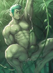 abs ambiguous_species ass balls big_penis body_hair cum cum_in_ass cum_inside cum_on_butt cum_on_penis ear_piercing facial_hair green_hair green_penis green_skin hair hairy happy_trail jungle kiashigetsnasty kneeling male male_only muscular muscular_male navel nipples not_furry pecs penis piercing pubes sal_(pteroscreams) solo thick_thighs vein veiny_penis