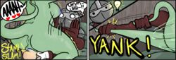 1boy 1girls afterimage anthro anus armor ass assertive balls breasts clothed_male_nude_female clothed_sex comic cowgirl_position cute dark_nipples dragon female froockles green_skin happy_sex human interspecies knight kobold_princess large_breasts lightbulb monster_girl nipples nude pussy scalie sex straddling straight tail tail_grab testicles towergirls trembling uncensored vaginal_penetration