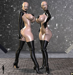 2girls 3d android back_view bald bare_shoulders big_breasts black_lips busty butt_crack cleavage curvy detailed_background erect_nipple erect_nipples eyelashes female female_only front_view hand_on_hip hands_on_hip hands_on_hips high_heels hourglass_figure humanoid looking_at_viewer multiple_females multiple_girls naked nude pose posing shadow shiny shiny_skin sideboob standing v4enru voluptuous wide_hips xskullheadx