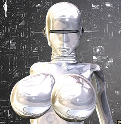 1girl 3d android bare_shoulders big_breasts busty cleavage curvy detailed_background erect_nipple erect_nipples eyelashes female female_only front_view hourglass_figure humanoid looking_at_viewer pose posing robot shiny shiny_skin silver_skin solo solo_female standing v4enru voluptuous wide_hips xskullheadx