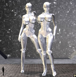 2girls 3d android bald bare_shoulders big_breasts busty cleavage curvy detailed_background erect_nipple erect_nipples eyelashes female female_only front_view hand_on_hip hands_on_hip hands_on_hips high_heels hourglass_figure humanoid looking_at_viewer multiple_females multiple_girls naked nude pose posing shadow shiny shiny_skin sideboob silver_skin standing v4enru voluptuous wide_hips xskullheadx
