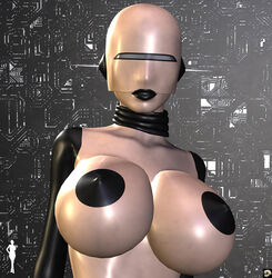 1girl 3d android bare_shoulders big_breasts black_lips busty cleavage curvy detailed_background erect_nipple erect_nipples eyelashes female female_only front_view hourglass_figure humanoid looking_at_viewer pose posing shiny shiny_skin solo solo_female standing v4enru voluptuous wide_hips xskullheadx