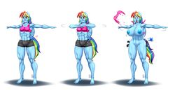 abs anthro anthrofied areola big_breasts big_nipples blue_fur blue_nipples breast_expansion breasts butt_expansion clothed clothing cutie_mark equine erect_nipples exercise expansion feathered_wings feathers female flower friendship_is_magic fur hair horse humanoid mammal midriff multicolored_hair muscular muscular_female my_little_pony navel nipples nude open_mouth pia-sama pink_eyes plant poison_joke pussy rainbow_dash_(mlp) rainbow_hair shirt shocked shorts simple_background skimpy small_breasts smile solo tank_top thick_thighs tight_clothing tongue torn_clothing wardrobe_malfunction white_background wide_hips wings
