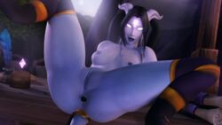 3d areolae blender breasts colonelyobo draenei female female_only looking_at_viewer nipples nude pussy sex_toy solo spread_legs world_of_warcraft