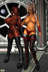 2girls 3d ahsoka_tano alien alien_girl bald big_breasts black_footwear black_legwear black_stockings blue_eyes bracer busty cleavage clone_wars corset curvy darth_talon detailed_background english_text erect_nipple erect_nipples eyelashes female female_only footwear front_view half-dressed half_dressed headgear high_heels hourglass_figure humanoid indoor inside legwear mammal marking multiple_females multiple_girls no_bra orange_skin pose posing red_skin sith sith_lady standing star_wars star_wars:_legacy stockings text thong togruta topless twi'lek voluptuous wide_hips xskullheadx yellow_eyes