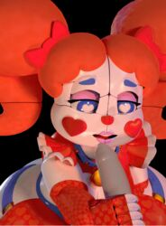 <3_eyes animated baby_(fnafsl) clown duo eyeshadow female female_focus five_nights_at_freddy's hair_ribbon hairbow handjob heart licking lipstick makeup male male/female not_furry penis ribbons sex solo_focus symbol-shaped_pupils tongue tongue_out twintails video_games