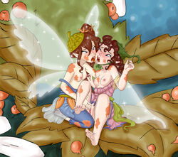 5_fingers 5_toes area_(artist) barefoot berry bess_(disney) breasts brown_hair clothed clothing disney disney_fairies dress duo exposed_breasts fairy feet female finger_fuck fingering fingering_partner fingernails food fruit fruit_juice hair hat humanoid humanoid_feet humanoid_hands humanoid_on_humanoid insect_wings kneeling leaves licking light_skin looking_pleasured messy nipple_pinch nipples no_underwear not_furry off_shoulder one_eye_closed overalls pale_skin partially_clothed pinch pink_nipples pink_pussy plant pointy_ears prilla_(disney) pussy sex sitting soles toenails toes tongue tongue_out vaginal_penetration wings yuri