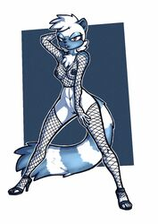 anthro breasts clothing female fishnet footwear furry high_heels looking_at_viewer luraiokun mammal primate pussy shoes solo sonic_(series) tangle_the_lemur